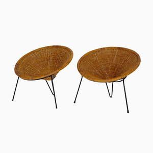Rattan Side Chairs by Roberto Mango, 1950s, Set of 2