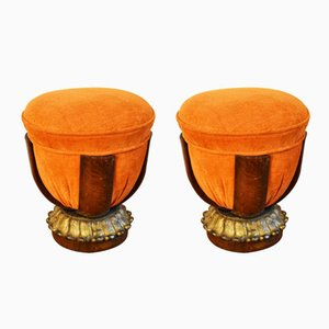 Art Nouveau Poufs, Set of 2