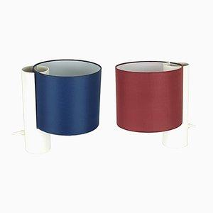 Fluette Tischlampen in Rot & Blau von Giuliana Gramigna für Quattrifolio 1964, 1979, 2er Set