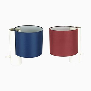 Lámparas de mesa Fluette en rojo y azul de Giuliana Gramigna para Quattrifolio 1964, 1979. Juego de 2