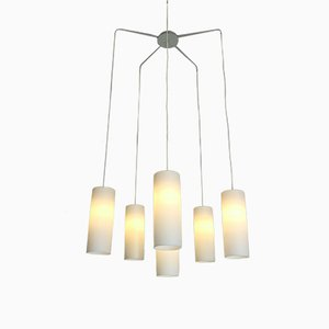 Grande Lampe à Suspension en Verre Opalin, Pays-Bas, 1950s
