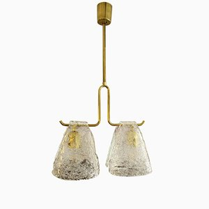 Mid-Century Ice Glass Ceiling Lamp by J.T. Kalmar