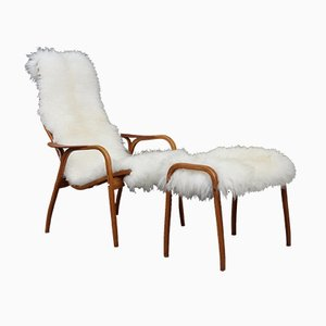 Lamino Chair in Sheepskin by Yngve Ekström for Swedese, 1950s
