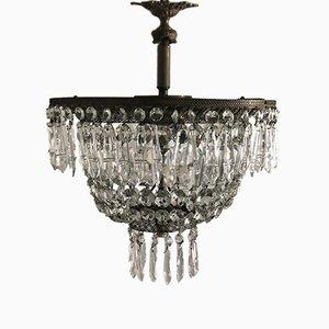Vintage Italian Crystal Flushmount Chandelier