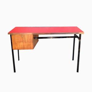Bureau Vintage avec Plateau en Formica Rouge