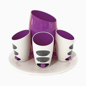 Pressure Collection Porcelain Cups with Bottle Tray by Giancarlo Zema for Bosa