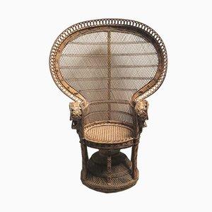 Chaise Paon Vintage en Osier, 1970s