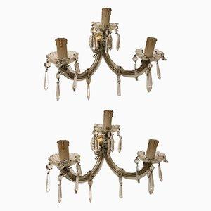 Vintage Kristallglas Wandlampen, 2er Set