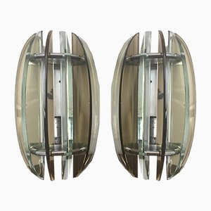 Glass Sconces from Veca, 1970s, Set of 2