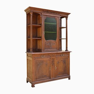 Art Nouveau Cupboard in Solid Carved Chestnut, 1900s