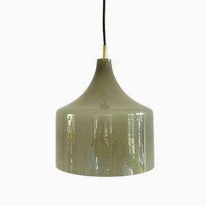 Lámpara colgante de vidrio opalino en gris de Alessandro Pianon para Vistosi, años 60