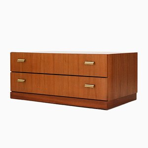 Low Chest of Drawers in Walnut and Brass, 1960s