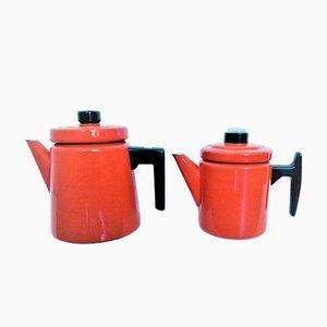 Rote Emaille Pehtoori Kaffeekannen von Antti Nurmesniemi für Arabia, 1957, 2er Set