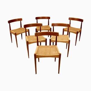 Sedie da pranzo Mid-Century di Arne Hovmand Olsen per Mogens Kold, anni '60, set di 6