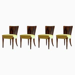 Chaises de Salle à Manger Modèle H-214 Art Déco par Jindřich Halabala, 1930s, Set de 4