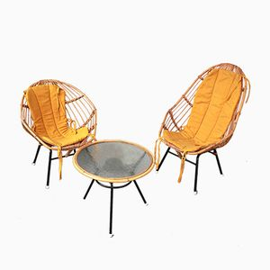Vintage Rattan Side Chairs, Set of 2