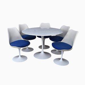 Set de Salon Vintage avec Table Ronde en Marbre par Saarinen pour Knoll