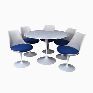 Vintage Dining Set with Round Marble Table by Saarinen for Knoll