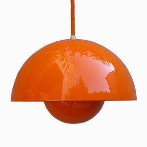 Lámpara Flowerpot vintage en naranja de Verner Panton para Louis Poulsen