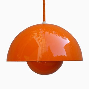 Vintage Orange Flowerpot Lamp by Verner Panton for Louis Poulsen