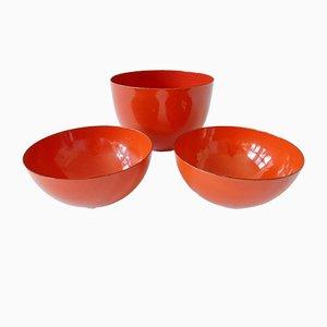 Scodelle arancioni e rosse di Kaj Franck per Finel, anni '60, set di 3