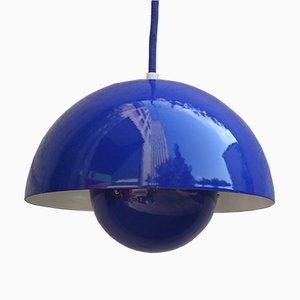 Blaue Vintage Flowerpot Lampe von Verner Panton für Louis Poulsen