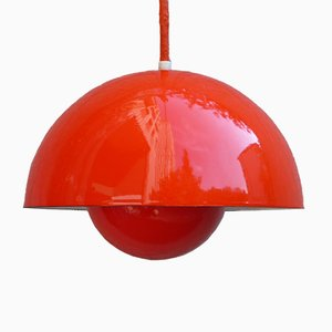 Vintage Red Flowerpot Lamp by Verner Panton for Louis Poulsen