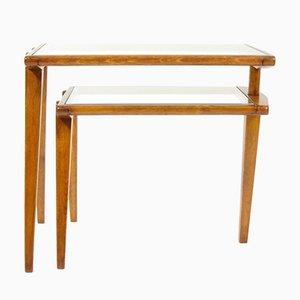 Mesa auxiliar plegable checoslovaca de madera y vidrio, años 60