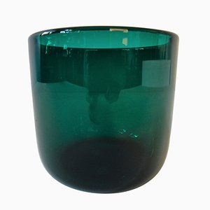 Danish Turquoise Green Glass Grønland Flowerpot by Per Lütken for Holmegaard, 1961