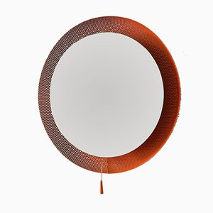 Mid-Century Orange Illuminated Mirror with Perforated Frame