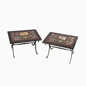 Low Vintage Tables with Stucco and Black Granite from Maison Jansen, Set of 2