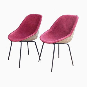 Pink Chairs by Genevieve Dangles & Christian Defrance for Burov, 1950s, Set of 2