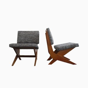 Mid-Century Modern Plywood Scissor Chairs, 1950s, Set of 2