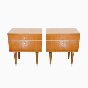 Teak & Metal Nightstands, 1950s, Set of 2