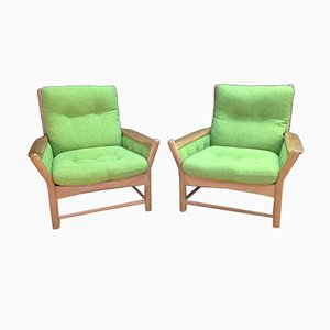 Green Armchairs, 1970s, Set of 2