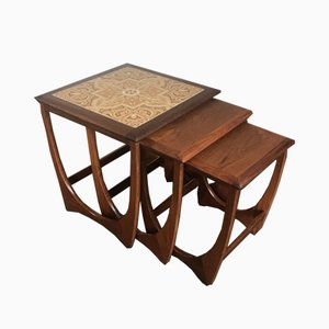 Mid-Century Teak Quadrille Nesting Tables with Tile Tops from G-Plan