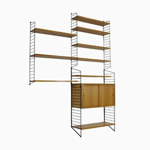 Vintage Ash Veneered Modular Shelving Unit by Katja & Nisse Strinning for String, 1960s