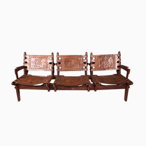 Sofá de tres plazas ecuatoriano de palisandro y cuero de Angel I. Pazmino para Muebles de Estilo, años 60