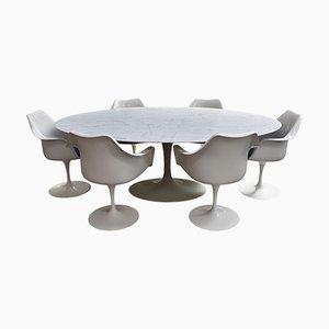 Juego de comedor Mid-Century de mármol de Eero Saarinen para Knoll