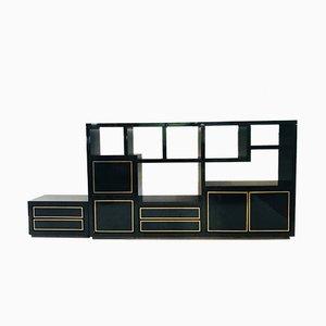Mueble de pared modular de madera lacada y latón, años 80