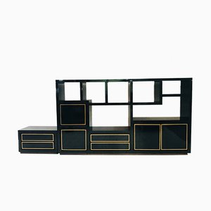 Wall Unit in Lacquered Wood & Brass, 1980s