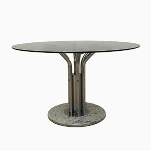 Dining Table in Smoked Glass & Marble, 1970s