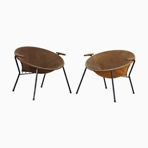 Vintage Two-Tone Balloon Armchairs in Suede by Hans Olsen for LEA, Set of 2