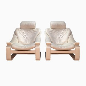 Vintage Kroken White Leather Armchairs by Åke Fribytter for Nelo, 1985
