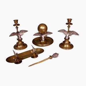 Juego de escritorio de latón plateado, siglo XIX