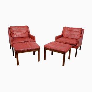 Sillones de palisandro y cuero rojo con taburetes de Rud Thygesen & Johnny Sørensen para Vejen, años 60. Juego de 2