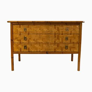 French Chest of Three Drawers with Bamboo Marquetry, 1970s