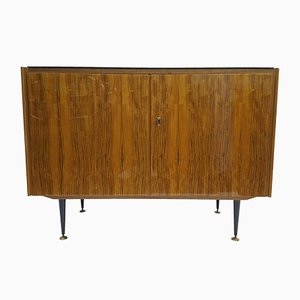 Lacquered Cabinet with Glass Top & Black Cone Legs, 1960s