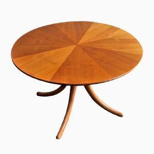 Vintage Birch Center Table with Curved Legs & Iris Effect Veneer Top
