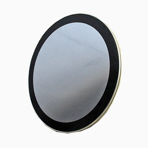 Vintage Round Mirror with Black Frame and Golden Edge